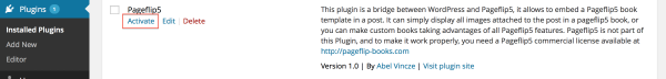 Activating Pageflip 5 WordPress Plugin